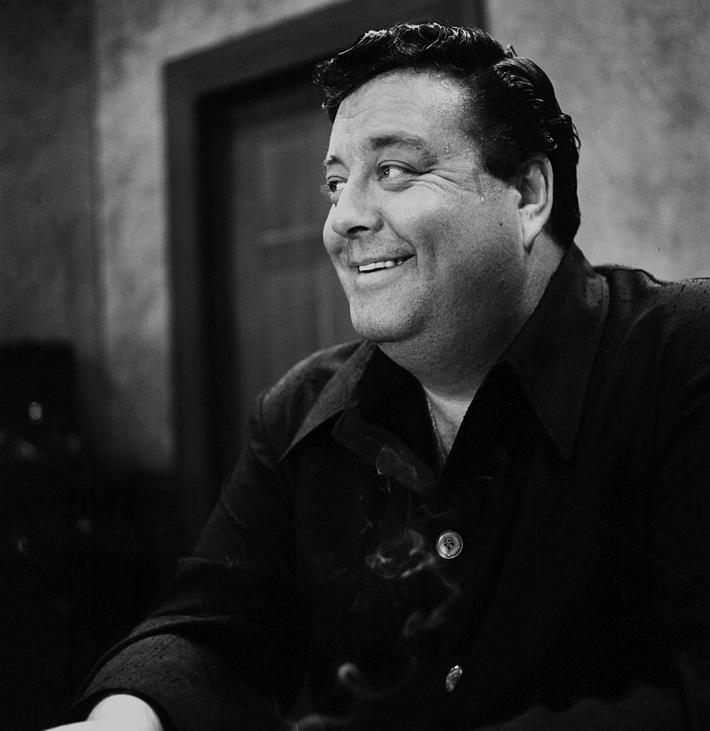 """Jackie Gleason on stage during rehearsal of """"The Jackie Gleason Show"""" in Los Angeles on May 15, 1955 
