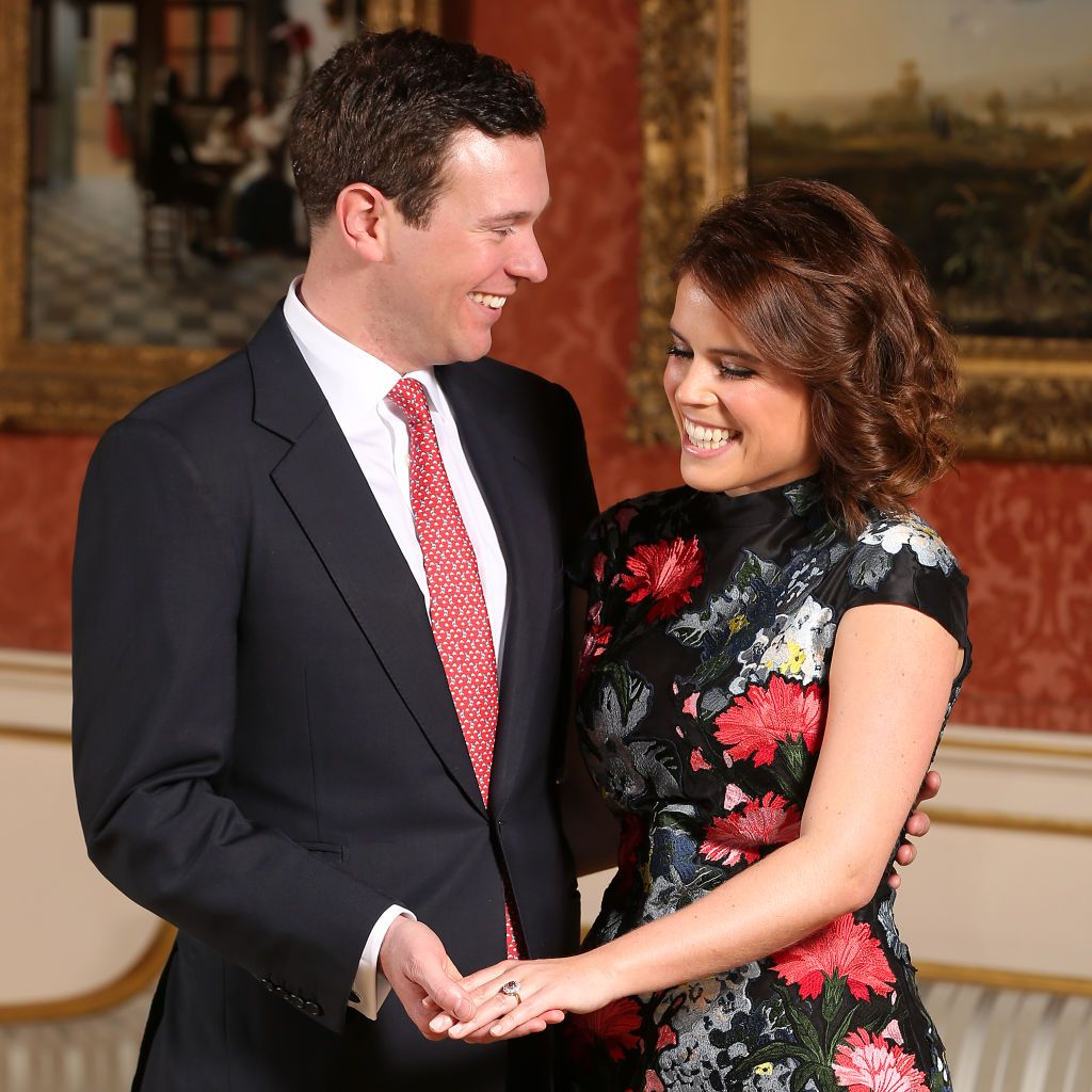 Jack Brooksbank and Princess Eugenie in the Picture Gallery at Buckingham Palace in London after they announced their engagementon January 22, 2018   Photo:Jonathan Brady/PA Images/Getty Images