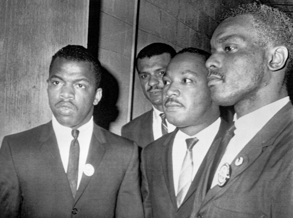 Reverend Martin Luther King Jr. at Fish University in Nashville, with John Lewis, national chairman of the Student Non-Violent Committee and Lester McKinnie  Photo: Getty Images