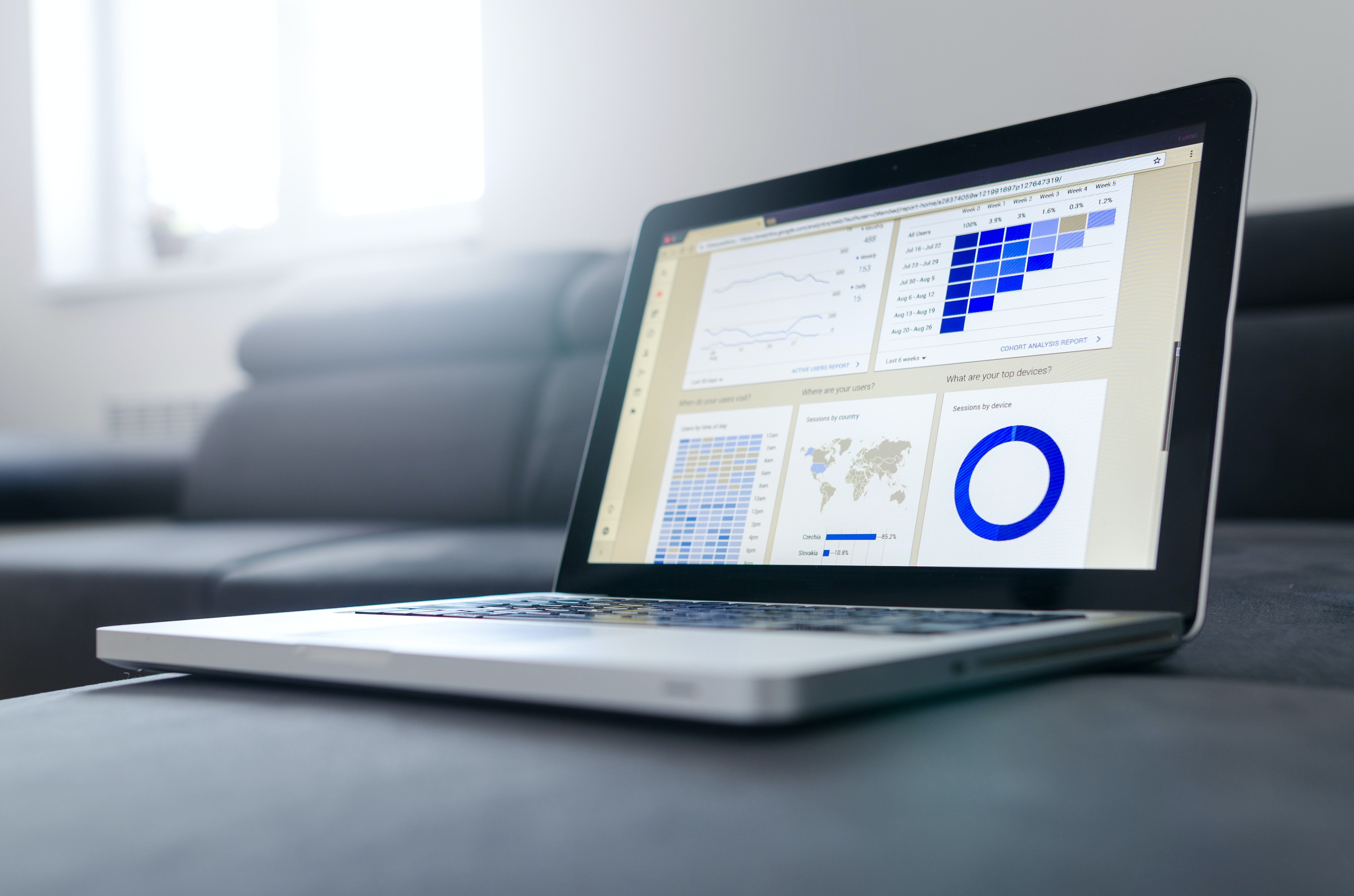 A laptop with graphs on the screen | Source: Unsplash / Lukas Blazek