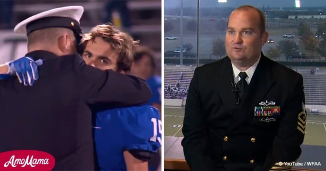 Boy convinced that military dad in another country when announcer asks him to turn around