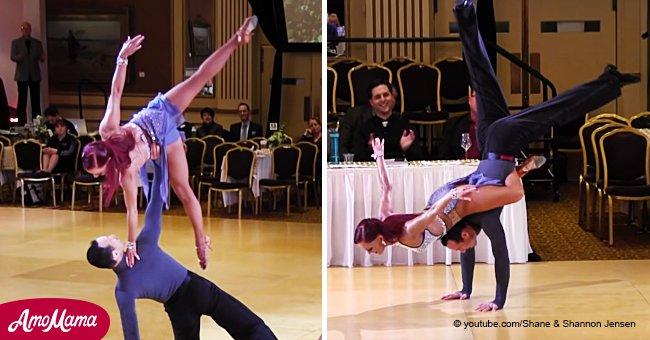 Un couple marié a présenté des danses de salon, des acrobaties et des figures de patinage artistique