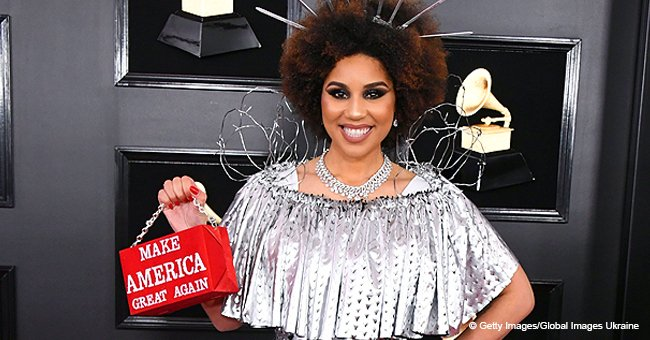 Joy Villa pays tribute to Trump by wearing 'build the wall' dress and 'MAGA' purse for the Grammys