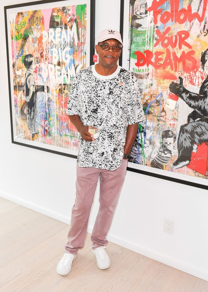 "Actor Samual L. Jackson attends ""Mr. Brainwash"" Solo Exhibit Launch at Taglialatella Galleries 