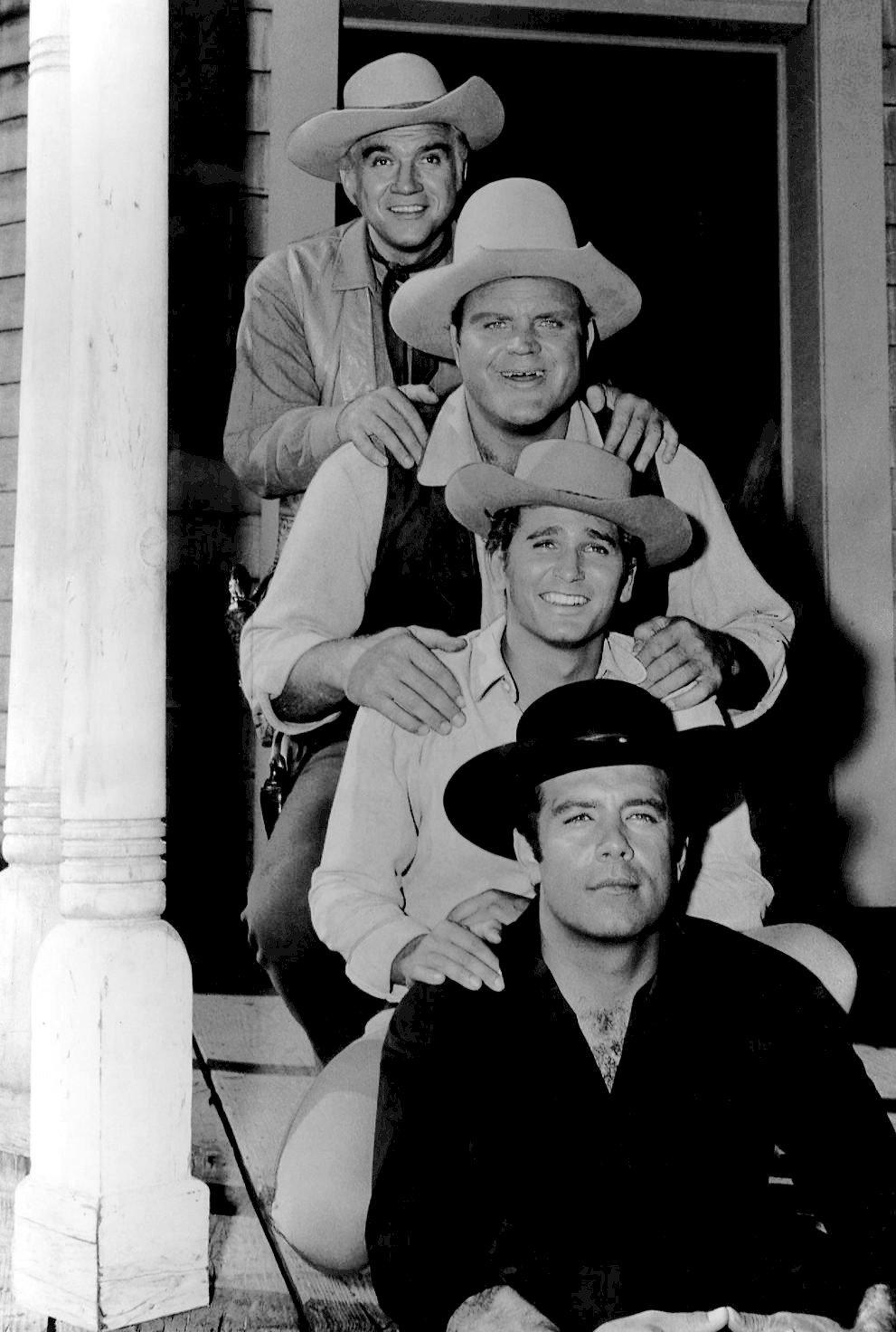 "Lorne Greene, Dan Blocker, Michael Landon, and Pernell Roberts in ""Bonanza"" in 1962. | Source: Wikimedia Commons."