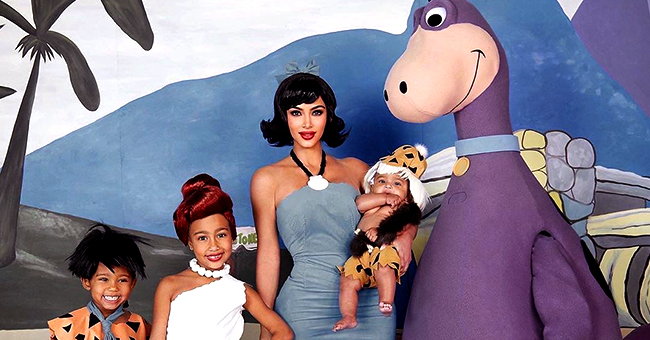 Kim Kardashian of KUWTK, Kanye West and Their Children Transformed into 'The Flintstones' for Halloween