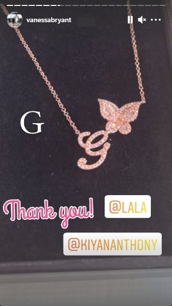Vanessa Bryant thanking La La Anthony for her gift in honor of her late daughter Gigi | Source: Instagram/vanessabryant