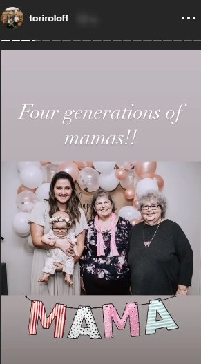 Tori strikes a pose with her daughter, mother, and grandmother   Source: Instagram/@toriroloff