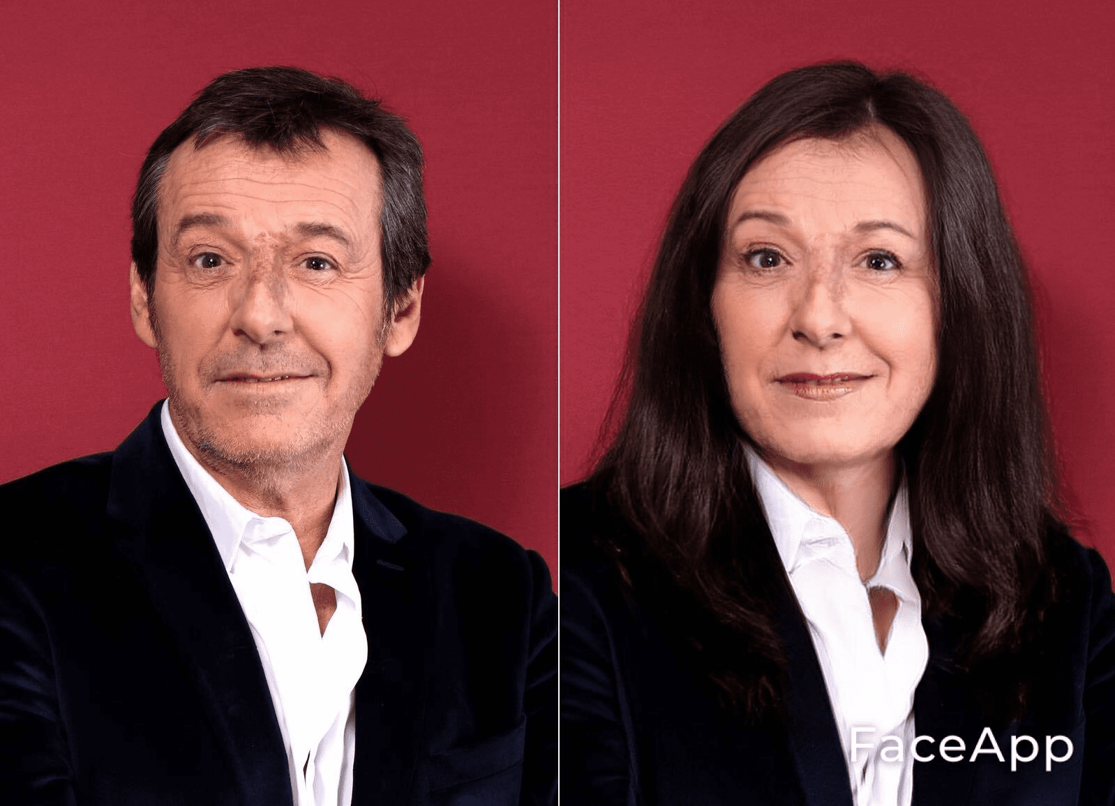 Jean-Luc Reichmann en femme. l Source : Getty Images/Face App