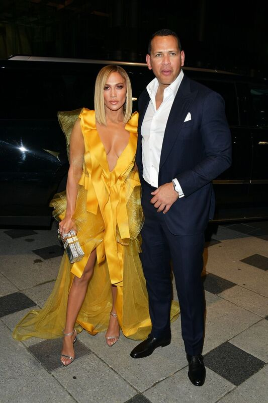 "Jennifer Lopez and Alex Rodriguez during the premiere of ""Hustlers"" in Toronto 