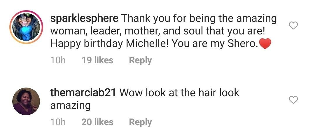 Fans comments on Michelle Obama's post on January 17, 2021 | Photo: Instagram/michelleobama