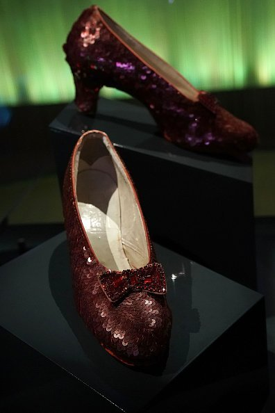 "The ""ruby slippers"" which Judy Garland wore during the 1939 filming of 'The Wizard of Oz' are put on display 