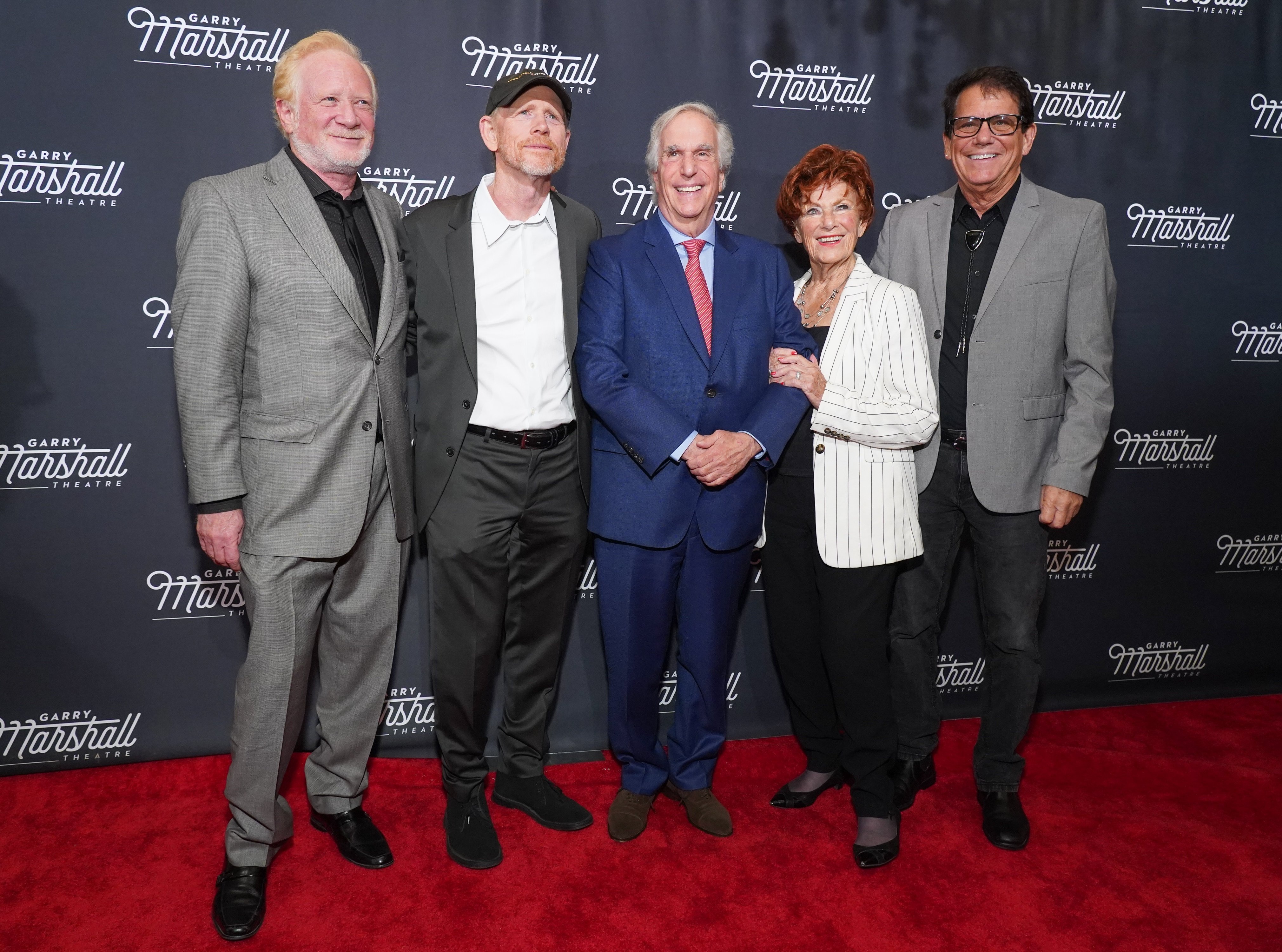 """Don Most, Ron Howard, Henry Winkler, Marion Ross and Anson Williams attend Garry Marshall Theatre's 3rd Annual Founder's Gala Honoring Original """"Happy Days"""" Cast on November 13, 2019   Photo: Getty Images"""