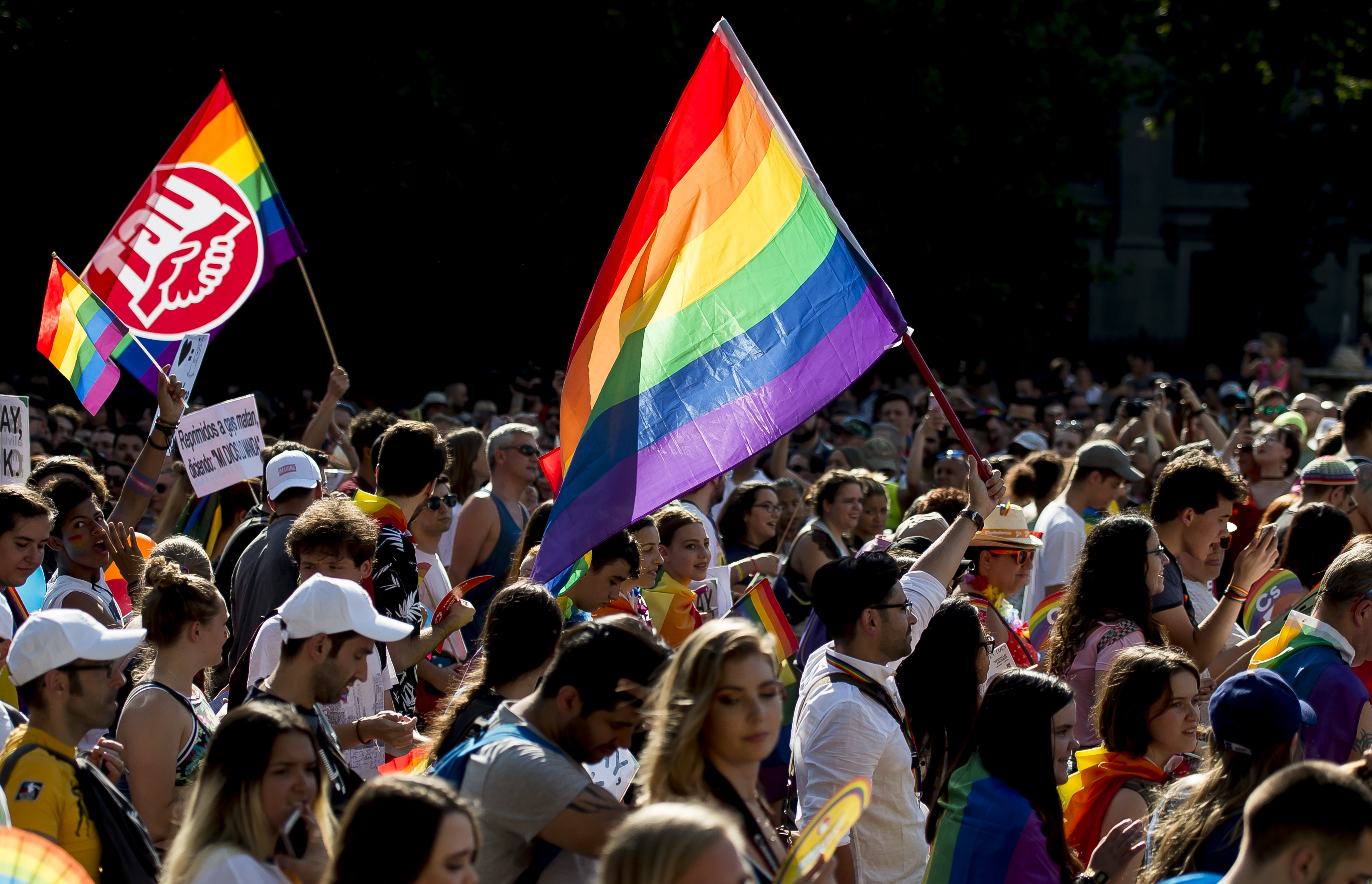 Thousands of LGBTQ members and supporters at the 2018 Gay and Lesbian Pride parade in Madrid, Spain   Photo: Getty Images