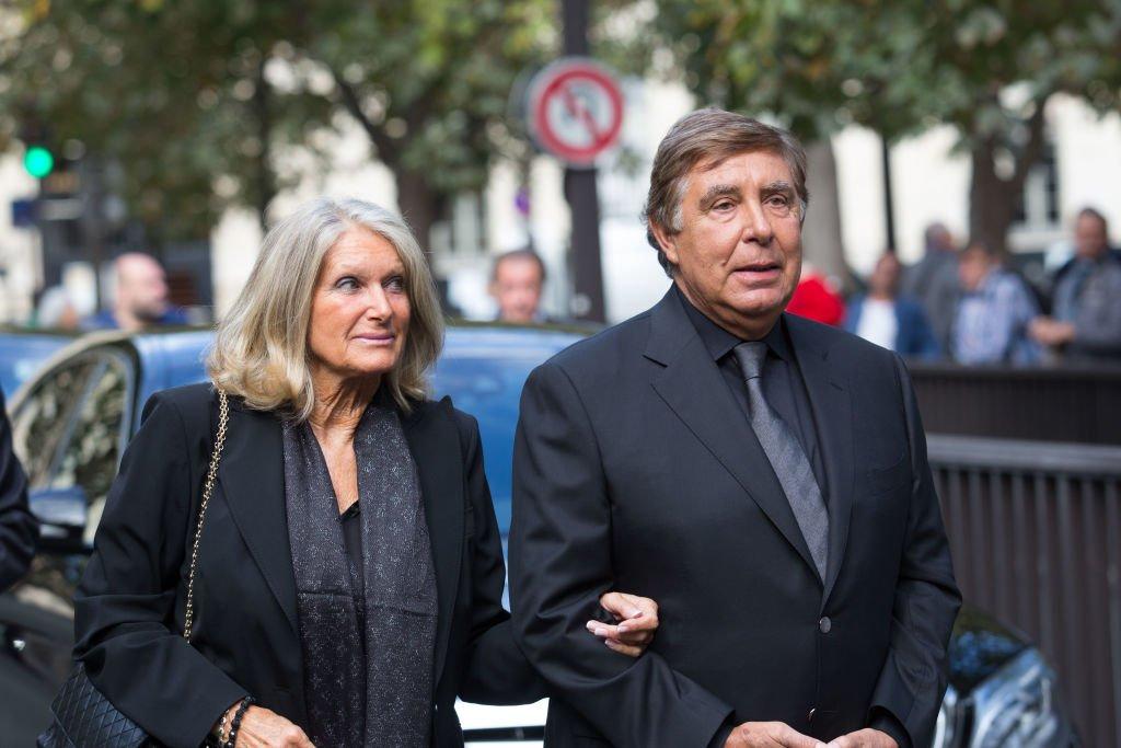 Le couple à l'enterrement de Mireille Darc en 2017. l Source : Getty Images