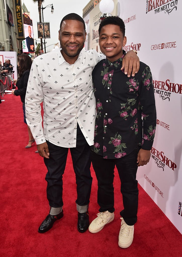 """Anthony Anderson and son Nathan Anderson attend the premiere of New Line Cinema's """"Barbershop: The Next Cut""""    Photo: Getty Images"""