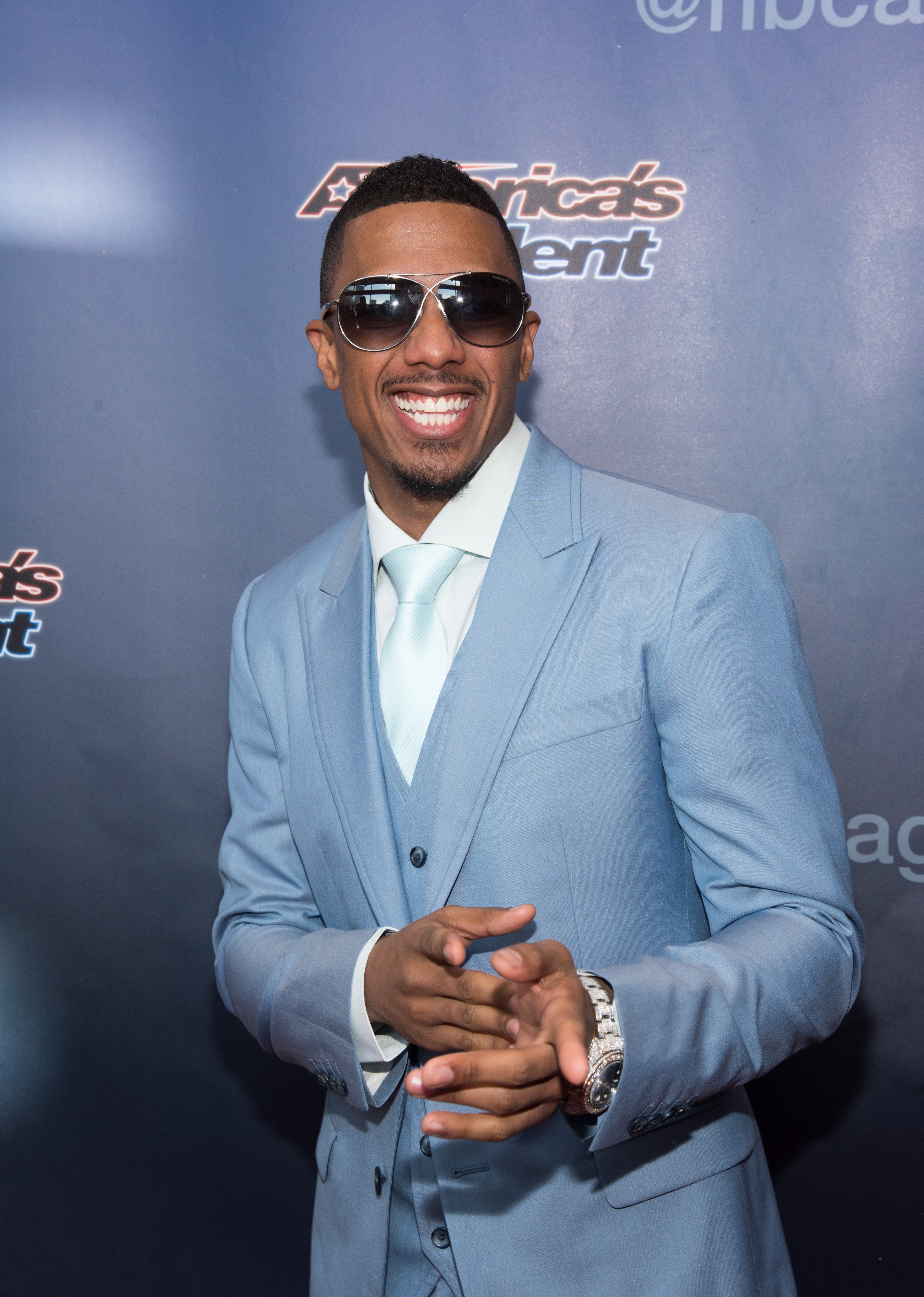 """Nick Cannon arriving at the """"America's Got Talent"""" Season 10 red carpet in New Jersey in March 2015. 