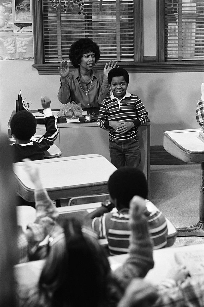 """Lillian Lehman as Miss Rawls, Gary Coleman as Arnold Jackson on """"Diff'rent Strokes"""" January 23, 1981 