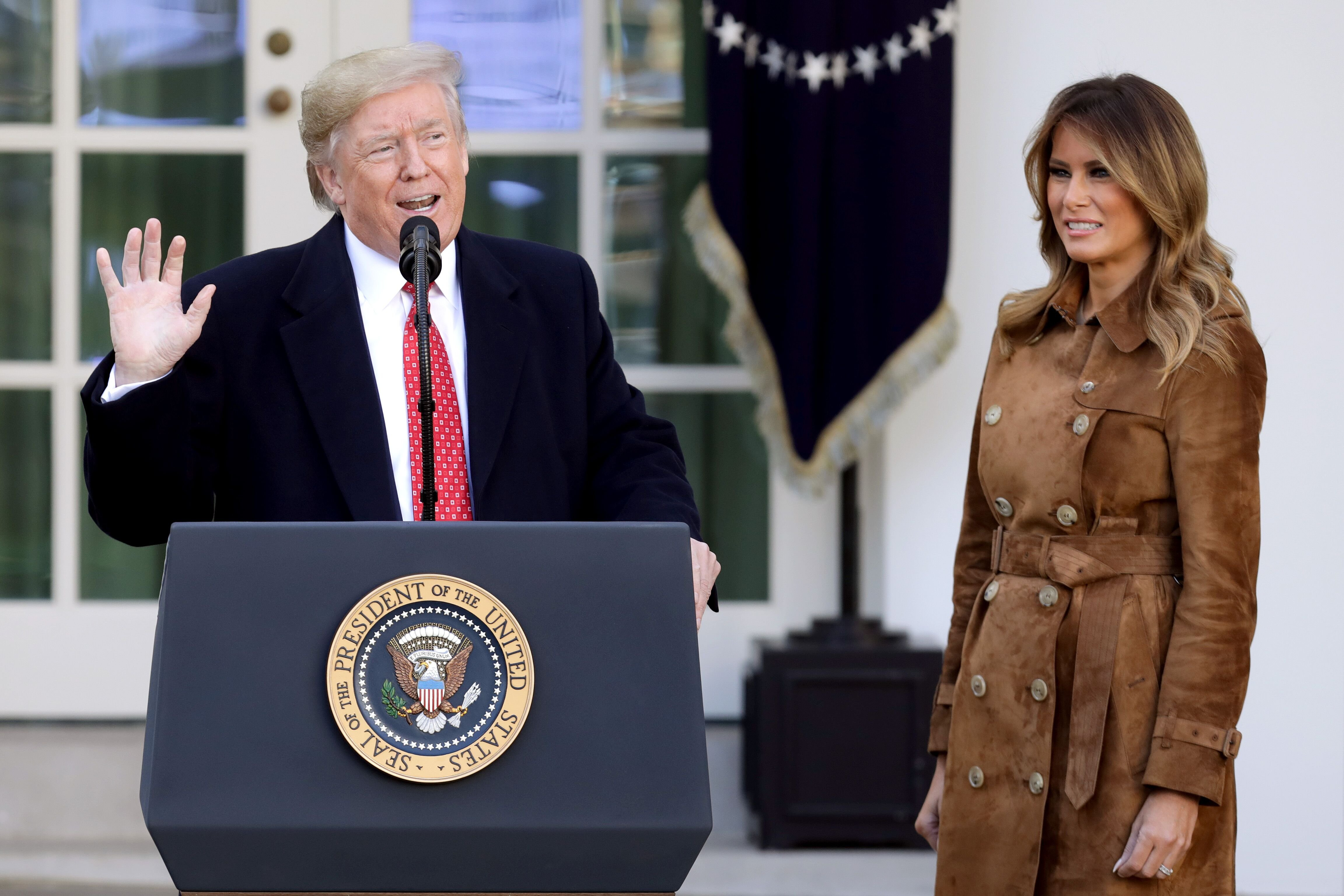 U.S. President Donald Trump delivers remarks before giving a presidential 'pardon' to the National Thanksgiving Turkey 'Butter' during the traditional event with first lady Melania Trump (R) in the Rose Garden of the White House November 26, 2019 in Washington, DC | Photo: Getty Images