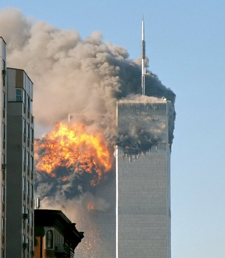 The north face of Two World Trade Center after being struck by United Airlines Flight 175. | Photo: Wikimedia Common Images