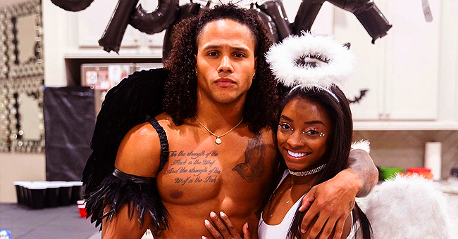 Simone Biles & Boyfriend Stacey Ervin Jr Flaunted Fit Bodies in Angel and Devil Costumes for Halloween