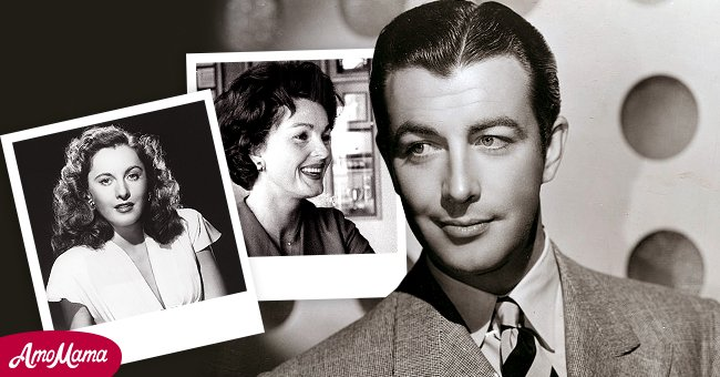 American actor Robert Taylor Insets: His first wife Barbara Stanwyck and his second wife Ursula Theiss │ Source: Getty Images - Shutterstock