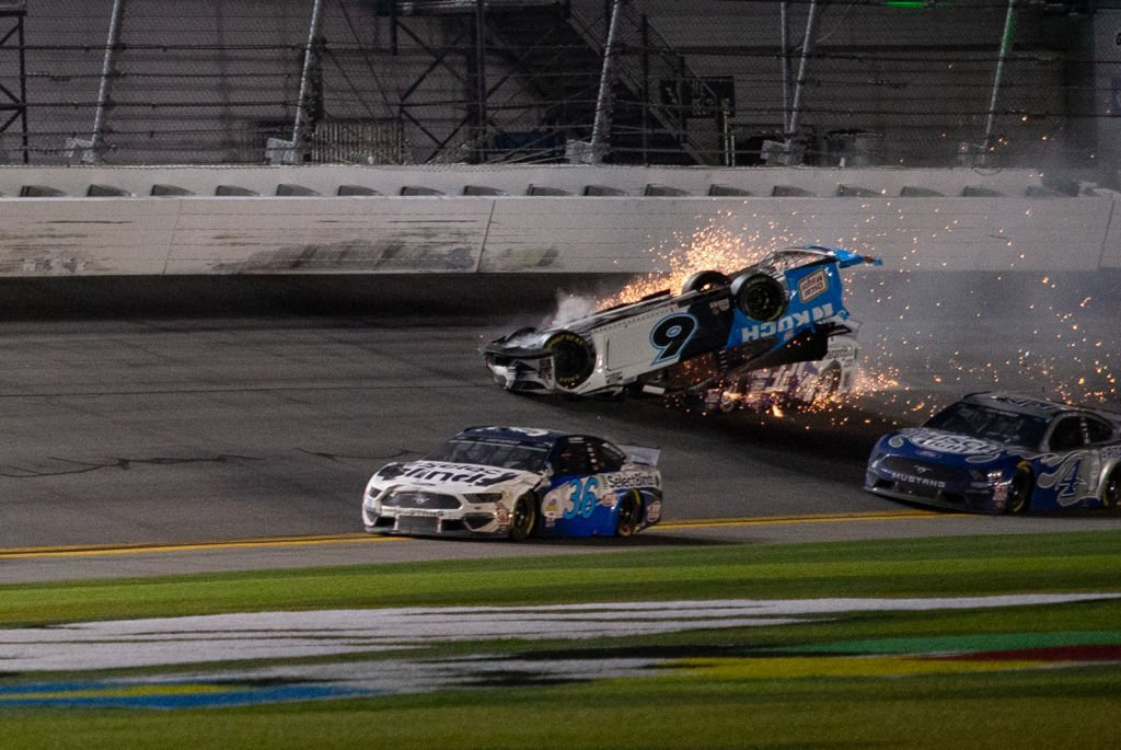 During the Daytona 500, Ryan Newman number 6 Mustang  collides with Corey LaJoie, driver number, on February 17, 2020, at Daytona International Speedway, in Daytona Beach, Florida | Source David Rosenblum/Icon Sportswire via Getty Images