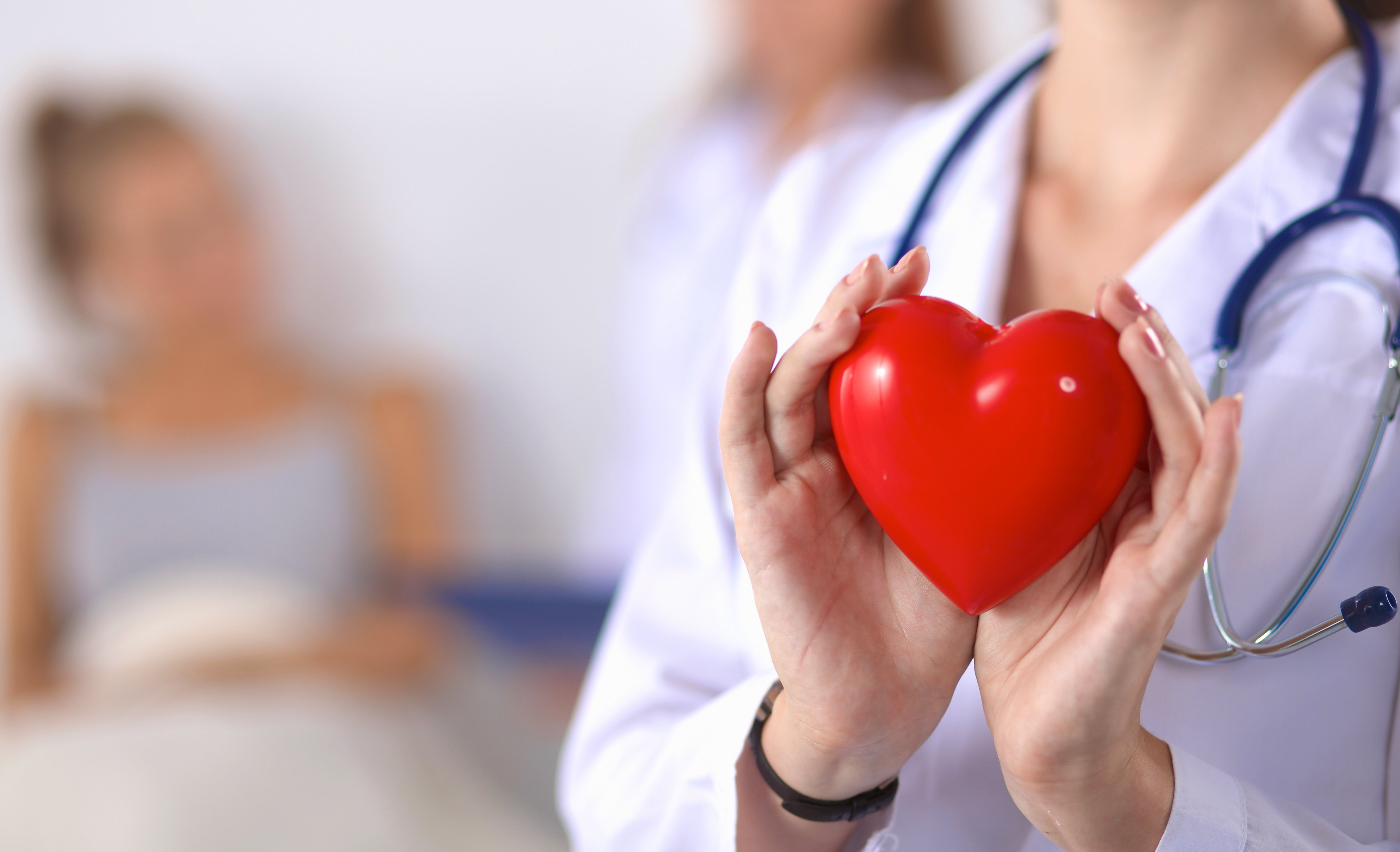 Young woman doctor holding a red heart | Shutterstock.com