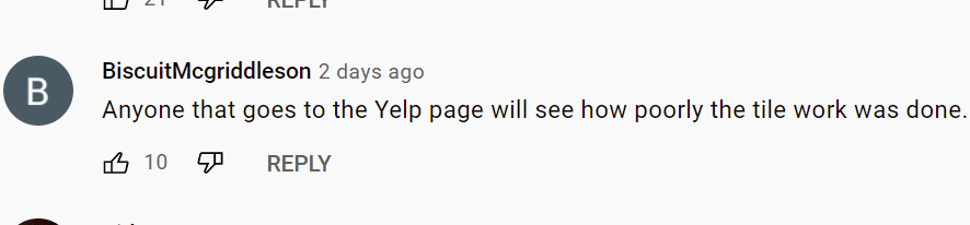 A user's comment on video of contractor taking revenge on a client.   Photo: YouTube/NewsChannel 13