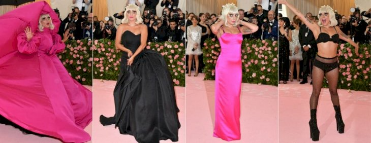 This combination of pictures created on May 06, 2019 shows Singer/actress Lady Gaga arriving for the 2019 Met Gala at the Metropolitan Museum of Art on May 6, 2019, in New York. The Gala raises money for the Metropolitan Museum of Arts Costume Institute. The Gala's 2019 theme is