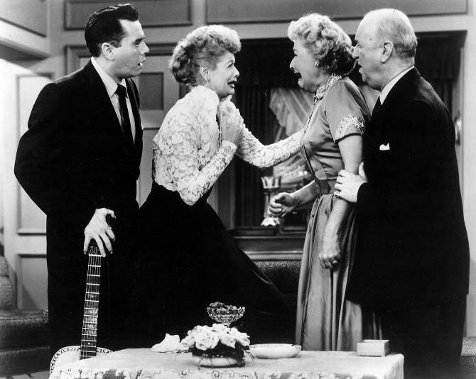 "Desi Arnaz, Lucille Ball, Vivian Vance, and William Frawley in ""I Love Lucy."" I Image: Getty Images."