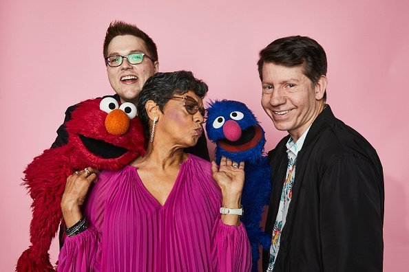 "Elmo, Ryan Dillon, Sonia Manzano, Grover and Eric Jacobson of ""Sesame Street"" pose for a portrait in the Pizza Hut Lounge at 2019 Comic-Con  