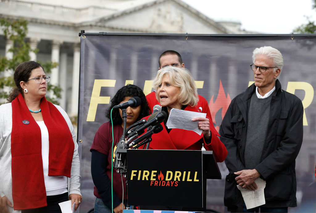 Jane Fonda, Ted Danson at Climate Change Protest. Image Credit: Getty Images