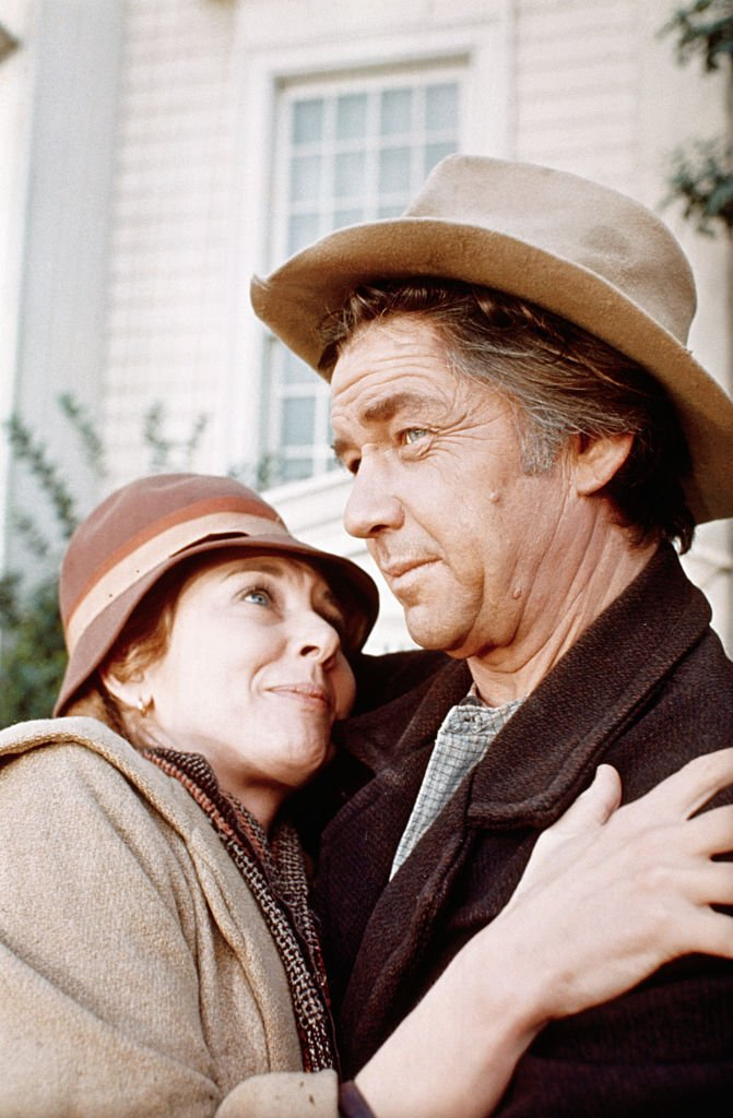 """Michael Learned embraces actor Ralph Waite in scene from the TV series """"The Waltons."""" 