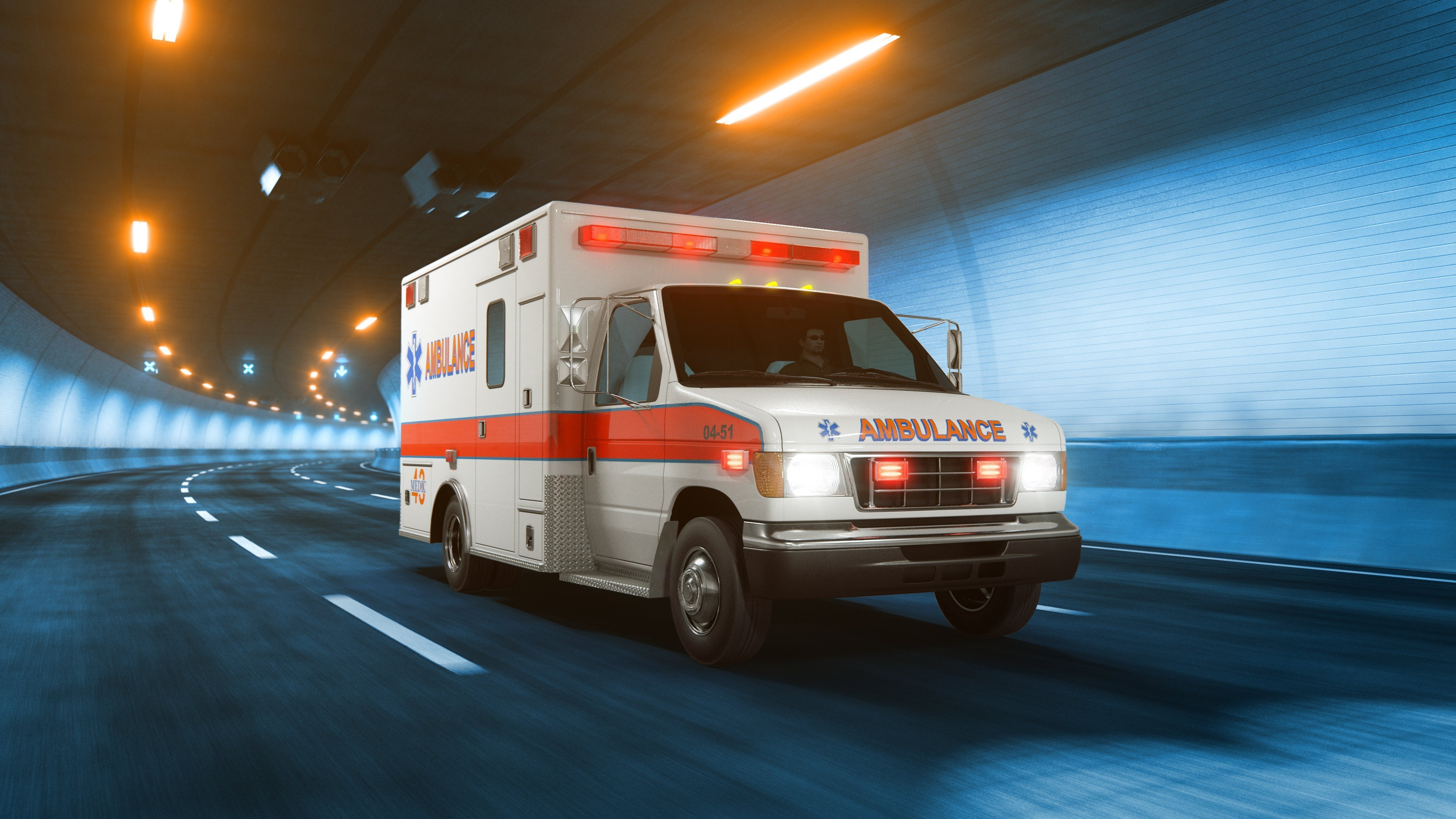 Ambulance car rides trough tunnel. Photo: Shutterstock