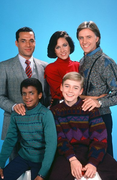 "Alfonso Ribeiro as Alfonso Spears, Ricky Shroder as Ricky Stratton, Franklyn Seales as Dexter Stuffins, Erin Gray as Kate Summers Stratton, and Joel Higgins as Edward Stratton III from ""Silver Spoons."" 