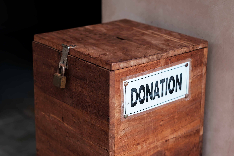 Donation box at church. Image credit: Pixabay