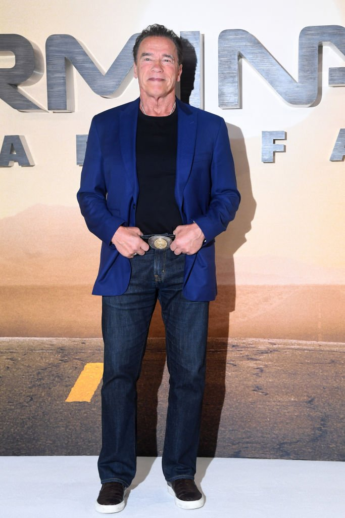 "Arnold Schwarzenegger attends the ""Terminator: Dark Fate"" photocall in London, England. 