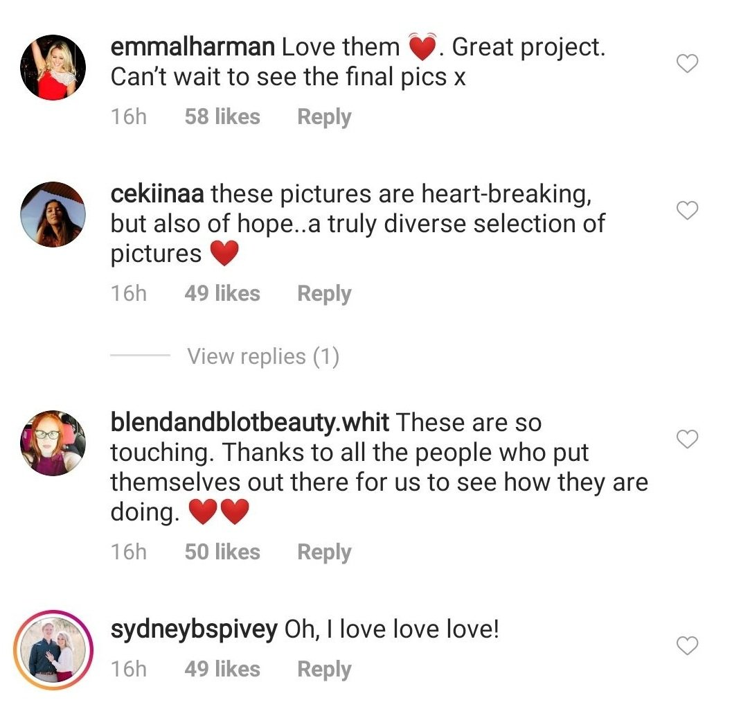 Followers comment on pictures posted by Kate Middleton from the Hold Still initiative on May 7, 2020.   Source: Instragram/kensingtonroyal.