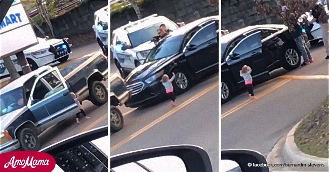 Niña aterrada desciende de auto con las manos arriba tras ver a policía esposar a su padre
