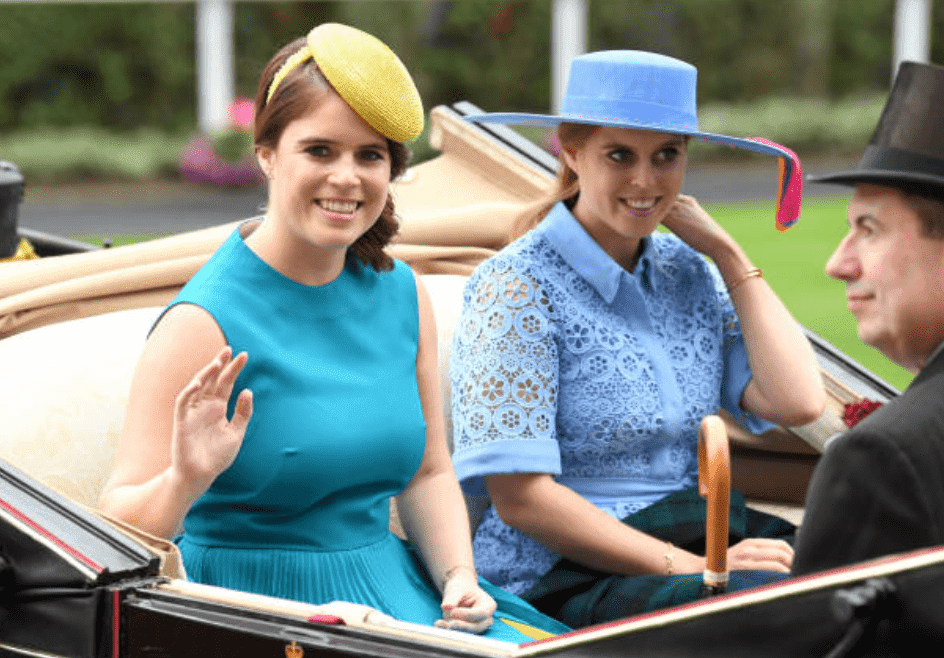 Princess Eugenie Princess Beatrice sit in a carriage at the Royal Ascot, on June 18, 2019, in Ascot, England | Source: Getty Images