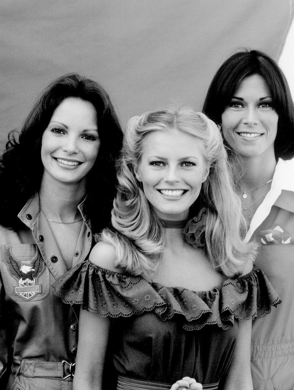 "Publicity photo from ""Charlie's Angels,"" 1977. Pictured are Jaclyn Smith, Cheryl Ladd, and Kate Jackson. Ladd replaced Farrah Fawcett 