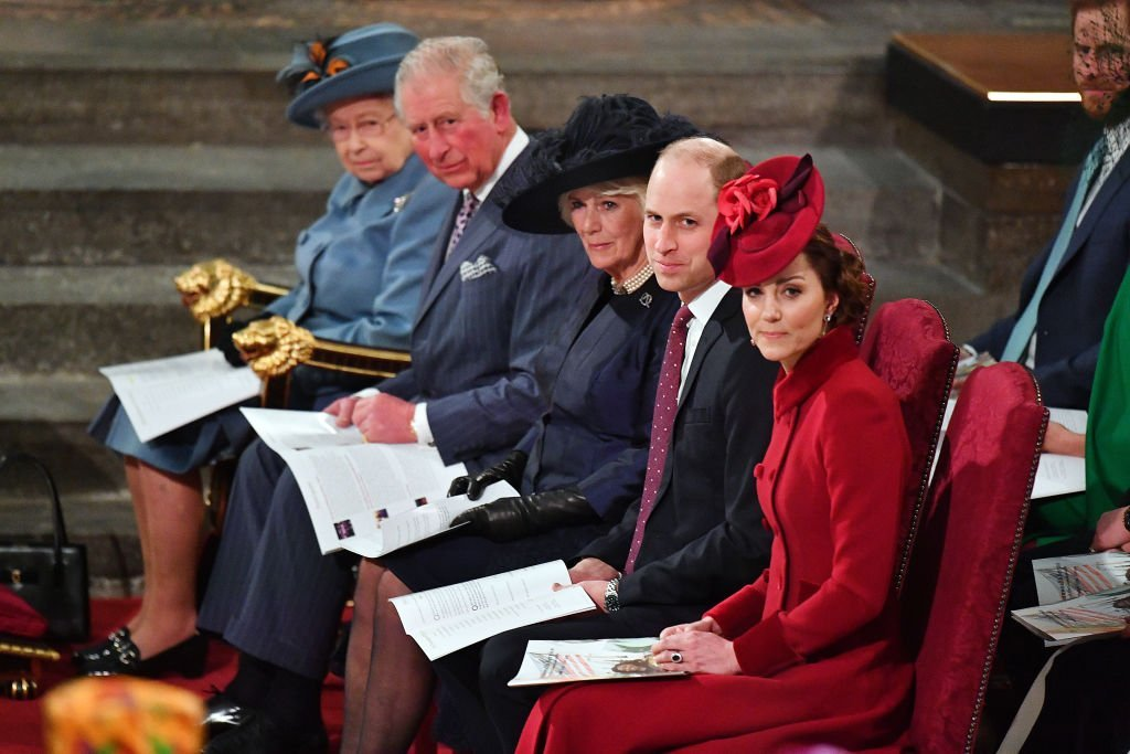 Queen Elizabeth, Prince Charles, Camilla, Duchess of Cornwall, Prince William and Kate Middleton sit in order of ranking at the Commonwealth Day Service on March 9, 2020, in London, England | Source: Phil Harris - WPA Pool/Getty Images)