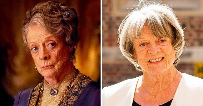 Maggie Smith as Prof. McGonagall and a photo of the Death Hollows premiere.   Photo: Getty Images  /  facebook.com/DowntonAbbey