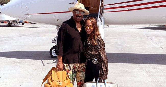 Steve Harvey & Wife Marjorie Wear Embellished Face Masks While on a Plane in Recent Pic & Fans Weigh In