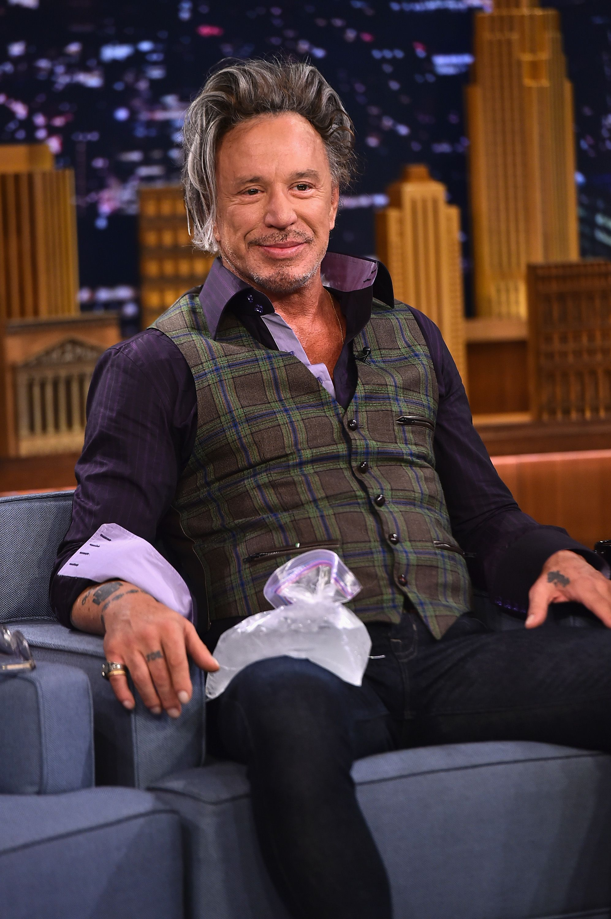 """Mickey Rourke at """"The Tonight Show starring Jimmy Fallon"""" at Rockefeller Center on August 12, 2014 