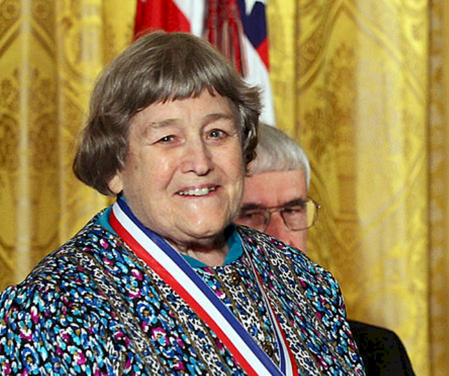 Cropped picture of Yvonne Brill wearing National Medal of Technology awarded by former U.S President Barack Obama | Source: Getty Images