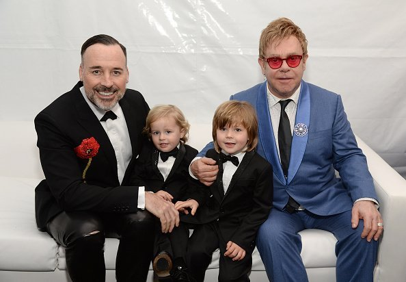 David Furnish, Elijah, Zachary, and Sir Elton John on February 22, 2015 in Los Angeles, California. | Photo: Getty Images