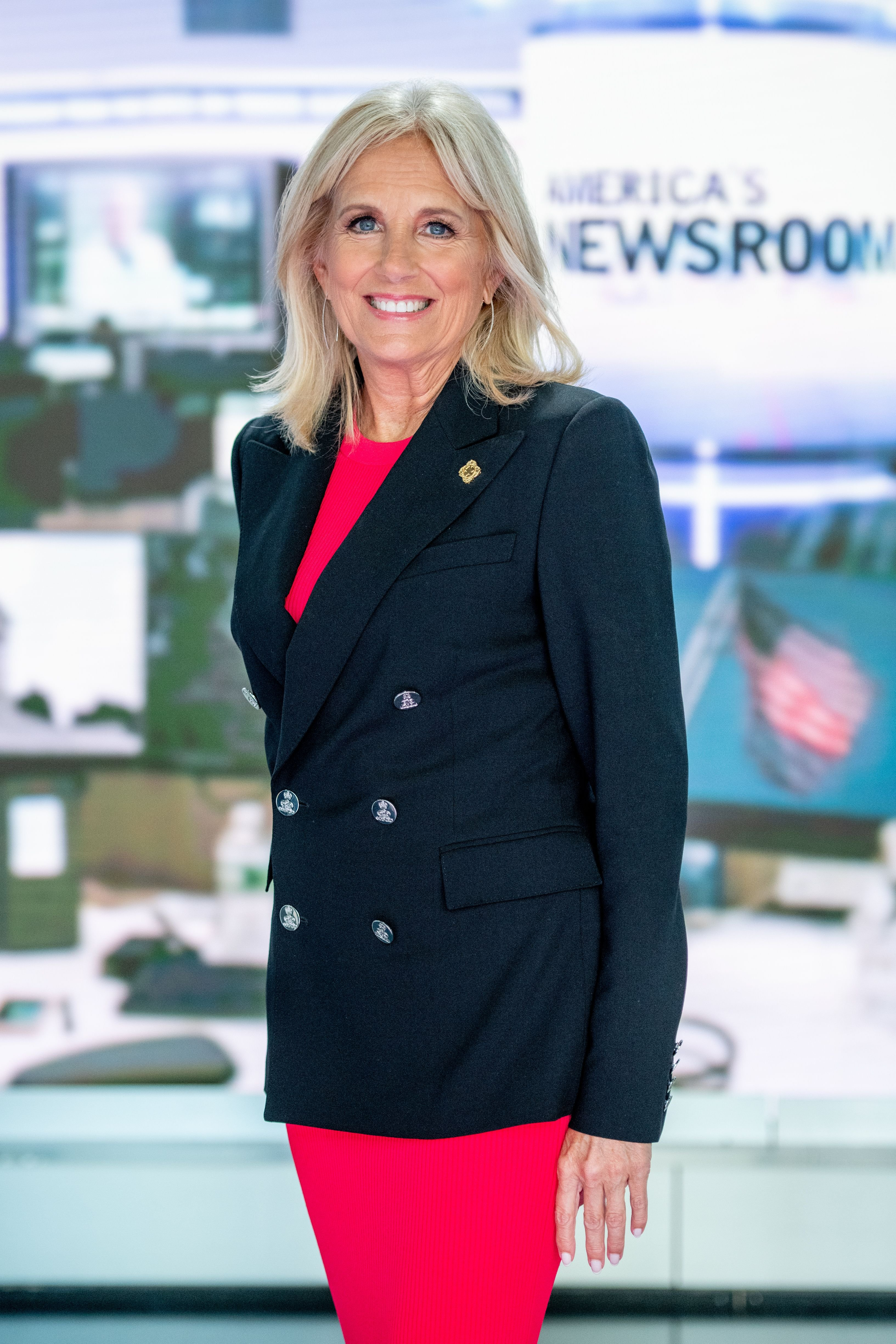 """Jill Biden discusses """"Walk of America"""" as she visits """"America's Newsroom"""" at Fox News Channel Studios on September 6, 2018, in New York City 