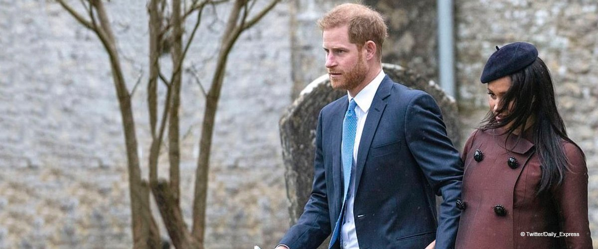 Heavily Pregnant Meghan Markle Spotted at Christening with Prince Harry Weeks before Due Date